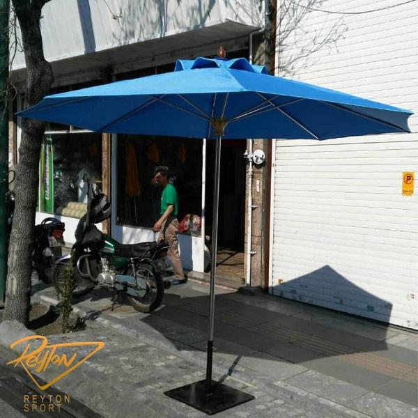 چتر پایه وسط مدل مدیترانه استیل و چوبی